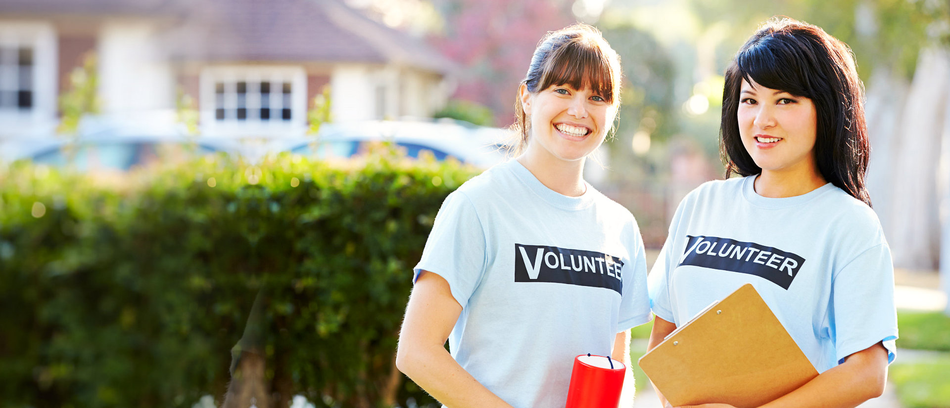 teenager volunteers smiling